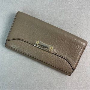 Burberry Gray Brown Continental Size Wallet